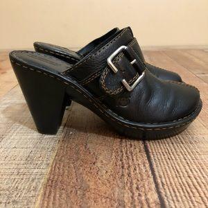 Born Black Leather Clog High Heels W31056 buckle 7